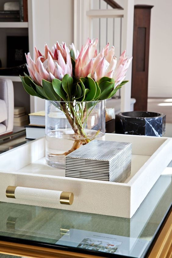 Coffee table styling with flowers